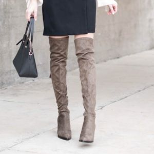 Marc Fisher Gray Suede Alinda Over the Knee Boots